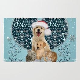 It's winter and christmas time, cute kitten and dogs Rug
