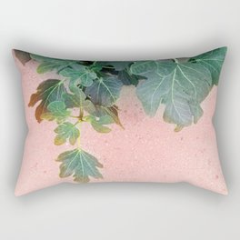 Pink Green Leaves Rectangular Pillow