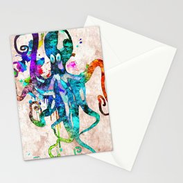 Octopus Grunge Stationery Cards