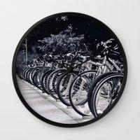 bikes Wall Clocks featuring Bikes by Kayla Gomez