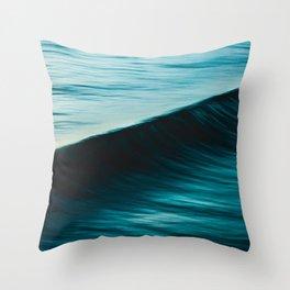 Blurred deep blue ocean swell wave California Throw Pillow