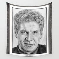 ford Wall Tapestries featuring Harrison Ford in 2005 by JMcCombie