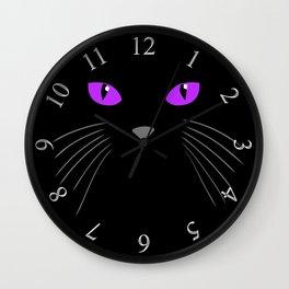 Black cat hiding in the shadows Wall Clock