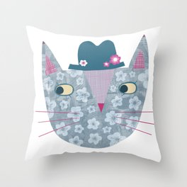 Flowery Cat in a Flowery Hat Throw Pillow