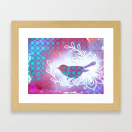 Blue and Purple little birdy Framed Art Print