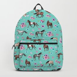 Hand drawn horses, Flower horses, Floral Pattern, Aqua Blue Backpack