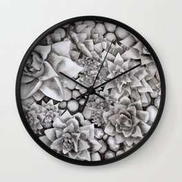 Watercolour pebbles and succulents Wall Clock
