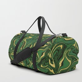 Luxury Marble Pattern in Emerald, Gold, Green and Copper Duffle Bag