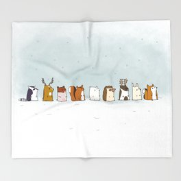 Winter forest animals Throw Blanket