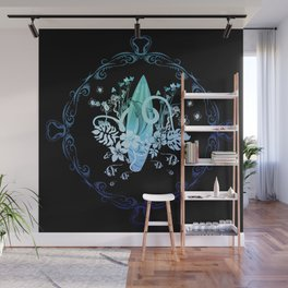 Surfing, tropical design with surfboard and flowers Wall Mural