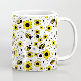 Honey Bumble Bee Yellow Floral Pattern Coffee Mug