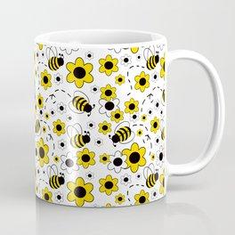 Honey Bumble Bee Yellow Floral Pattern Coffee Mug