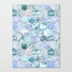 Ice Blue and Jade Stone and Marble Hexagon Tiles Canvas Print