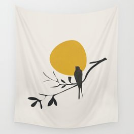 Bird and the Setting Sun Wall Tapestry