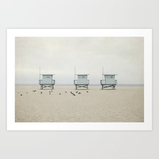 Lifeguard Towers with Birds Art Print