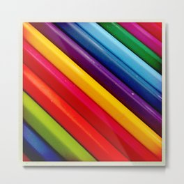 Coloured Pencils Metal Print