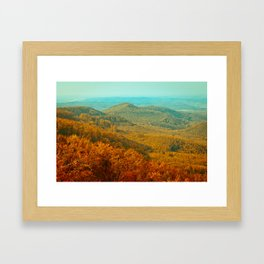 Autumn or fall forest view in the mountains, deciduous forest landscape Framed Art Print