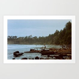 Two Surfers on the beach in Oregon Art Print