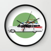 ghostbusters Wall Clocks featuring Ghostbusters HQ by Michael Walchalk