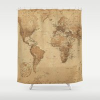 vintage map Shower Curtains featuring VINTAGE MAP by Oksana Smith