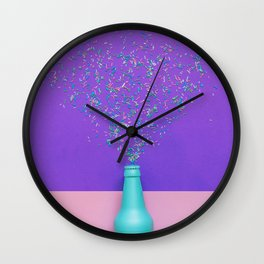 champagne bottle with confetti glittering splashes Wall Clock