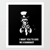Monkey Sam Wants Banana's  Art Print
