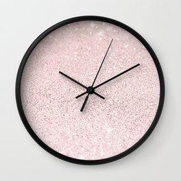 Blush Pink Ombre Gradient Glitter Wall Clock