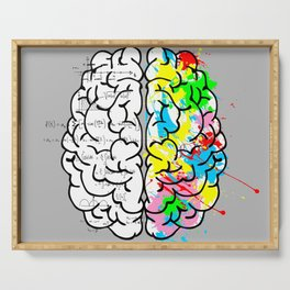 Right Brain - Left Brain - cerebral cortex creativity intelligence Serving Tray