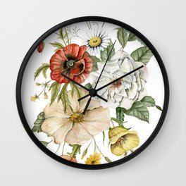Wildflower Bouquet on White Wall Clock