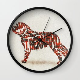 St. Bernard Dog Typography Art / Watercolor Painting Wall Clock