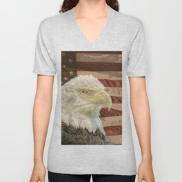 Rustic Bald Eagle on American Flag A213 Unisex V-Neck