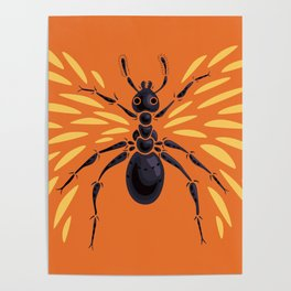 Winged Ant Fiery Orange Poster