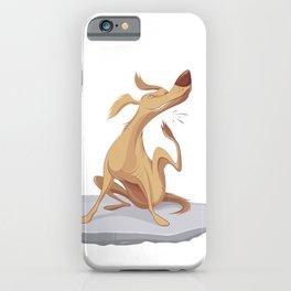 Itchy Dog Cartoon Illustration iPhone Case