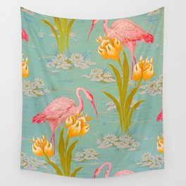 Papier peint - Isidore Leroy - 1905 Flamingo Pond Floral Pastel Pattern Wall Tapestry