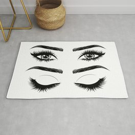 Eyes with long eyelashes and brows Rug
