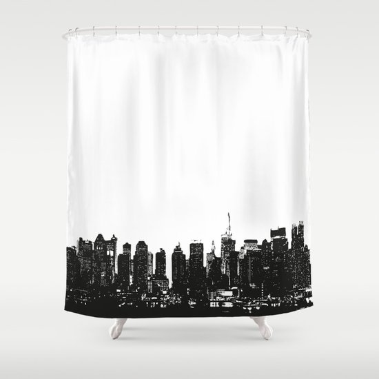 New york black and white high quality art print shower for Curtains and drapes nyc