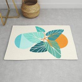 Tropical Symmetry / Retro Aqua Orange Palette Rug
