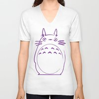 studio ghibli V-neck T-shirts featuring STUDIO GHIBLI HAYAO MIYAZAKI - MY NEIGHBOR TO TO RO by The Fugu Project