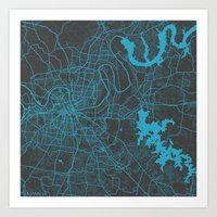 nashville Art Prints featuring Nashville by Map Map Maps