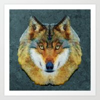polygon Art Prints featuring polygon wolf by Ancello