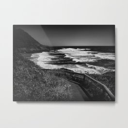 Seascape Ecola State Park State Park in Black and White Metal Print