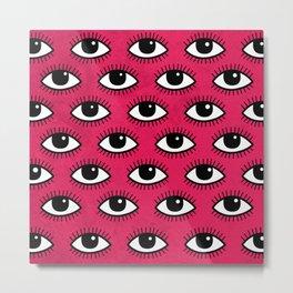 Eyes pattern on red backgrounred Metal Print