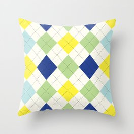 Argyle Plaid in Blue, Green and Yellow Throw Pillow