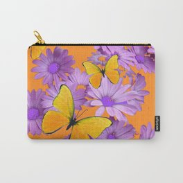 Red-Orange Yellow Butterflies Lilac Color Purple Daisies Carry-All Pouch