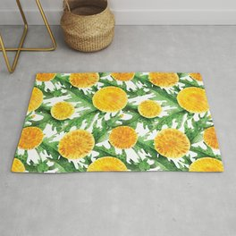 Watercolor Dandelion Pattern in Green and Yellow Rug