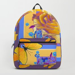 YELLOW BUTTERFLIES ART ROSE FLOWERS PUCE Backpack