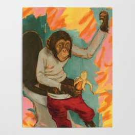"""""""Primitive Neurological Circuitry (Chimp on Toilet)"""" Poster"""