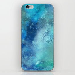 Abstract navy blue teal turquoise watercolor pattern iPhone Skin