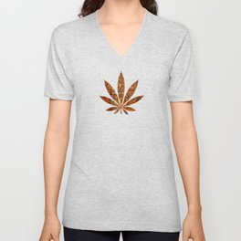 Vintage Cannabis Leaf Unisex V-Neck