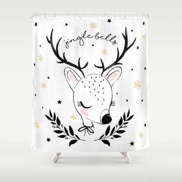 Cute doe christmas design. Shower Curtain